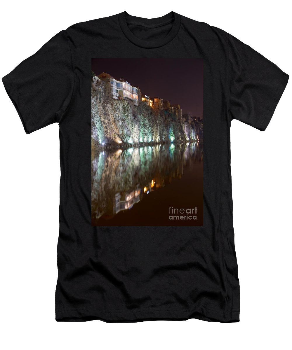 Mtkvari Men's T-Shirt (Athletic Fit) featuring the digital art Impressiones At Mtkvari River by Jovanovic Dragan