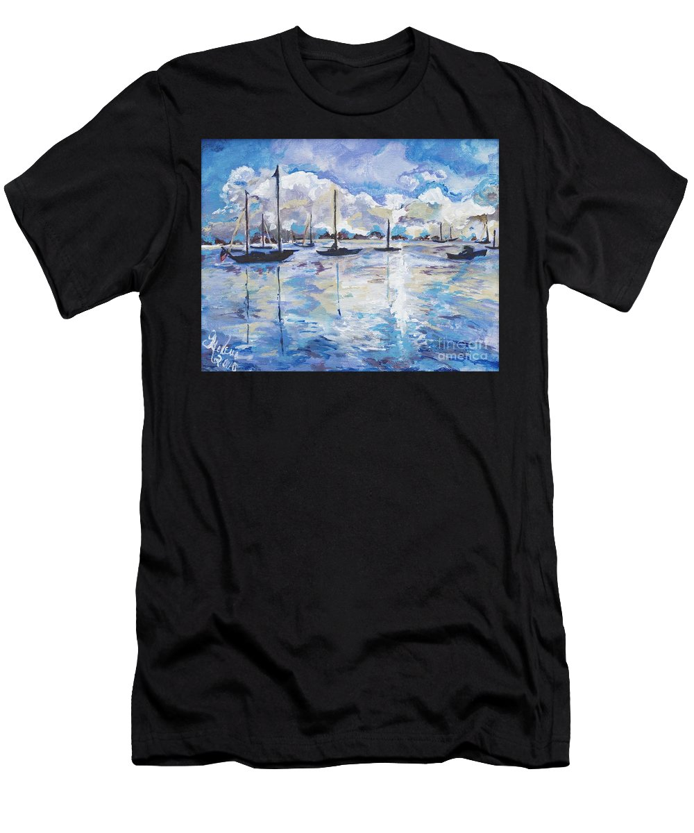 Art Men's T-Shirt (Athletic Fit) featuring the painting In Search For America's Freedom by Helena Bebirian