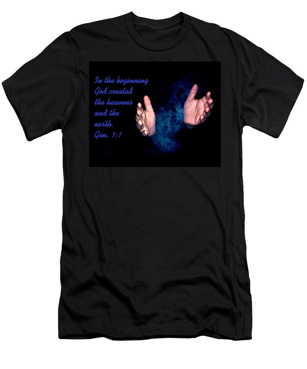 Hands Men's T-Shirt (Athletic Fit) featuring the photograph In The Beginning by Gene Tatroe
