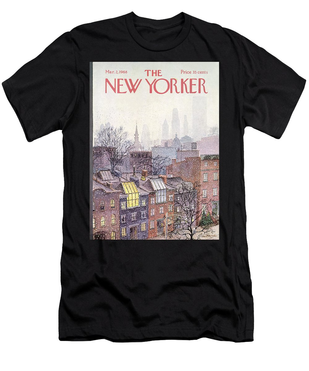 Albert Hubbell Ahu Men's T-Shirt (Athletic Fit) featuring the painting New Yorker March 2, 1968 by Albert Hubbell
