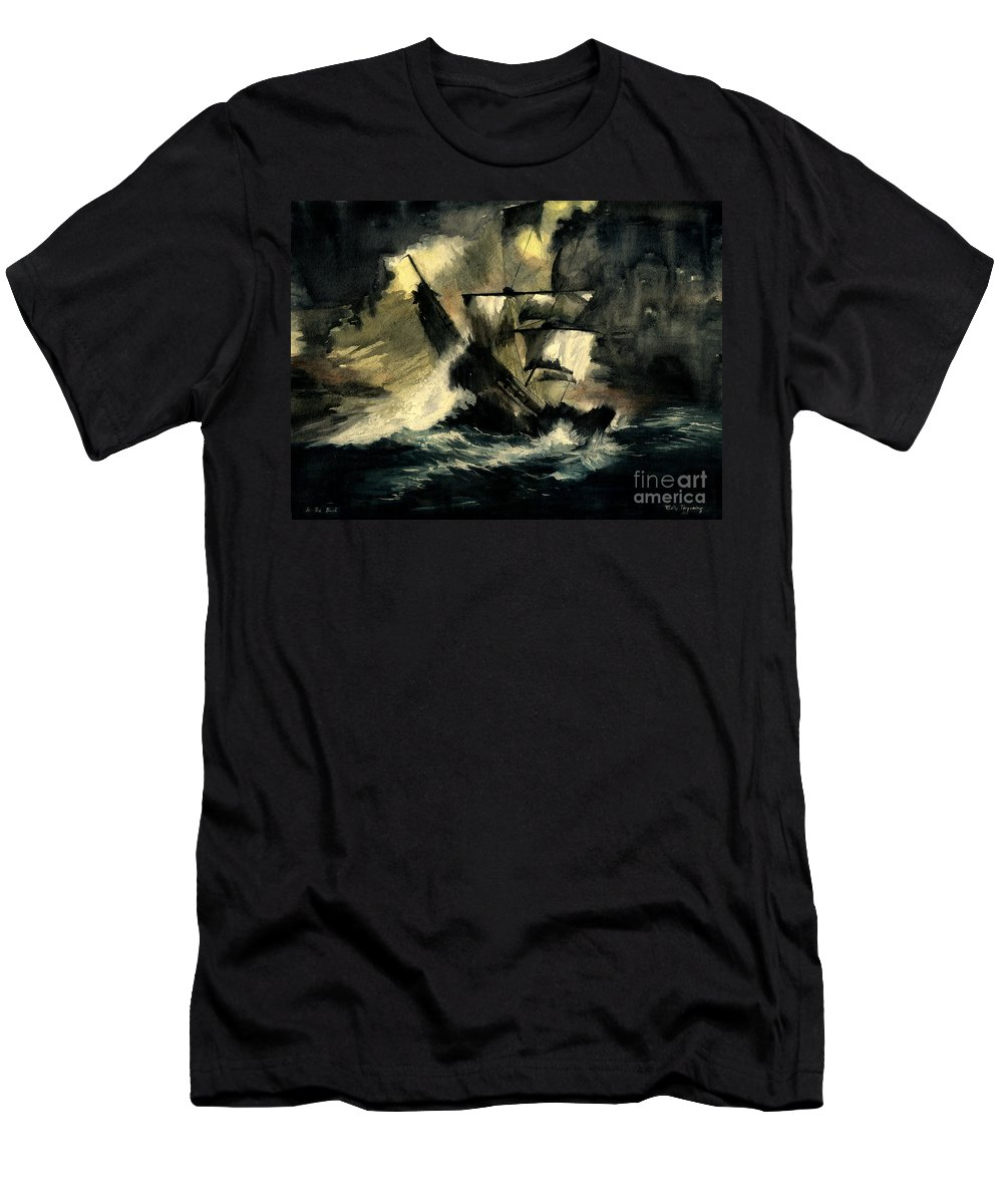 Pirates Ships Men's T-Shirt (Athletic Fit) featuring the painting In The Dark by Melly Terpening