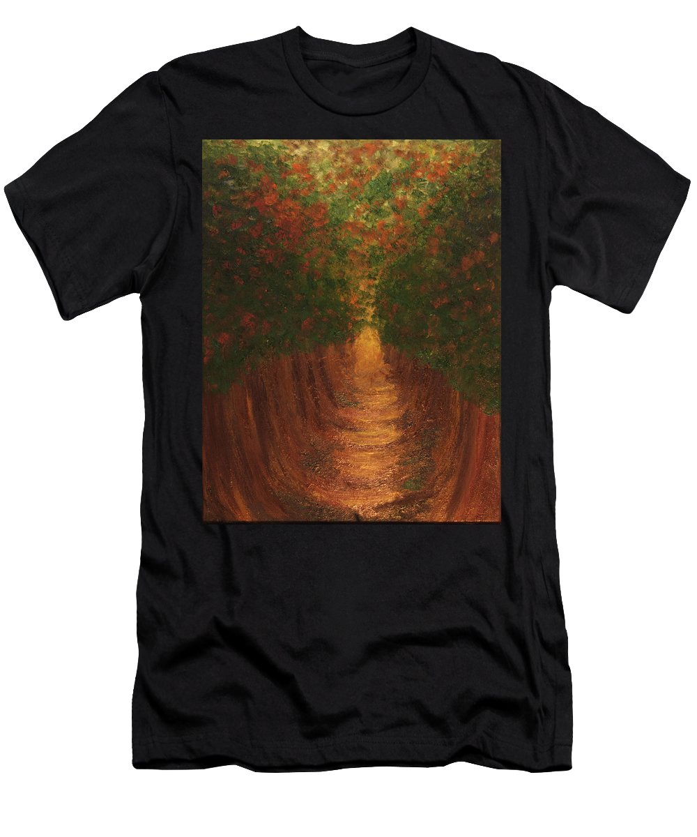 Trees Men's T-Shirt (Athletic Fit) featuring the painting In The Lane by Laurette Escobar