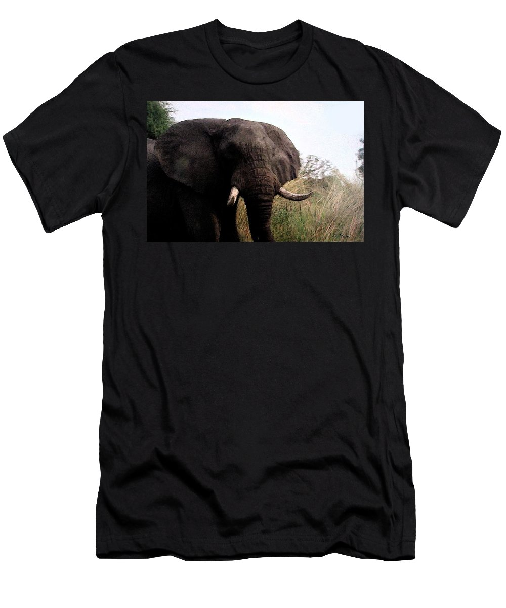 Africa Men's T-Shirt (Athletic Fit) featuring the painting In The Tall Grass by George Pedro