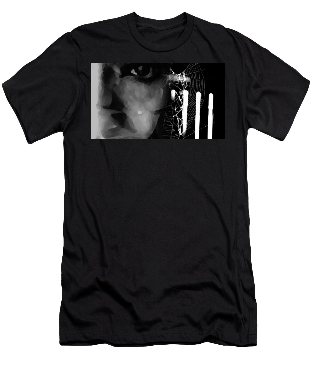 Black Men's T-Shirt (Athletic Fit) featuring the photograph In The Web by Jessica Shelton