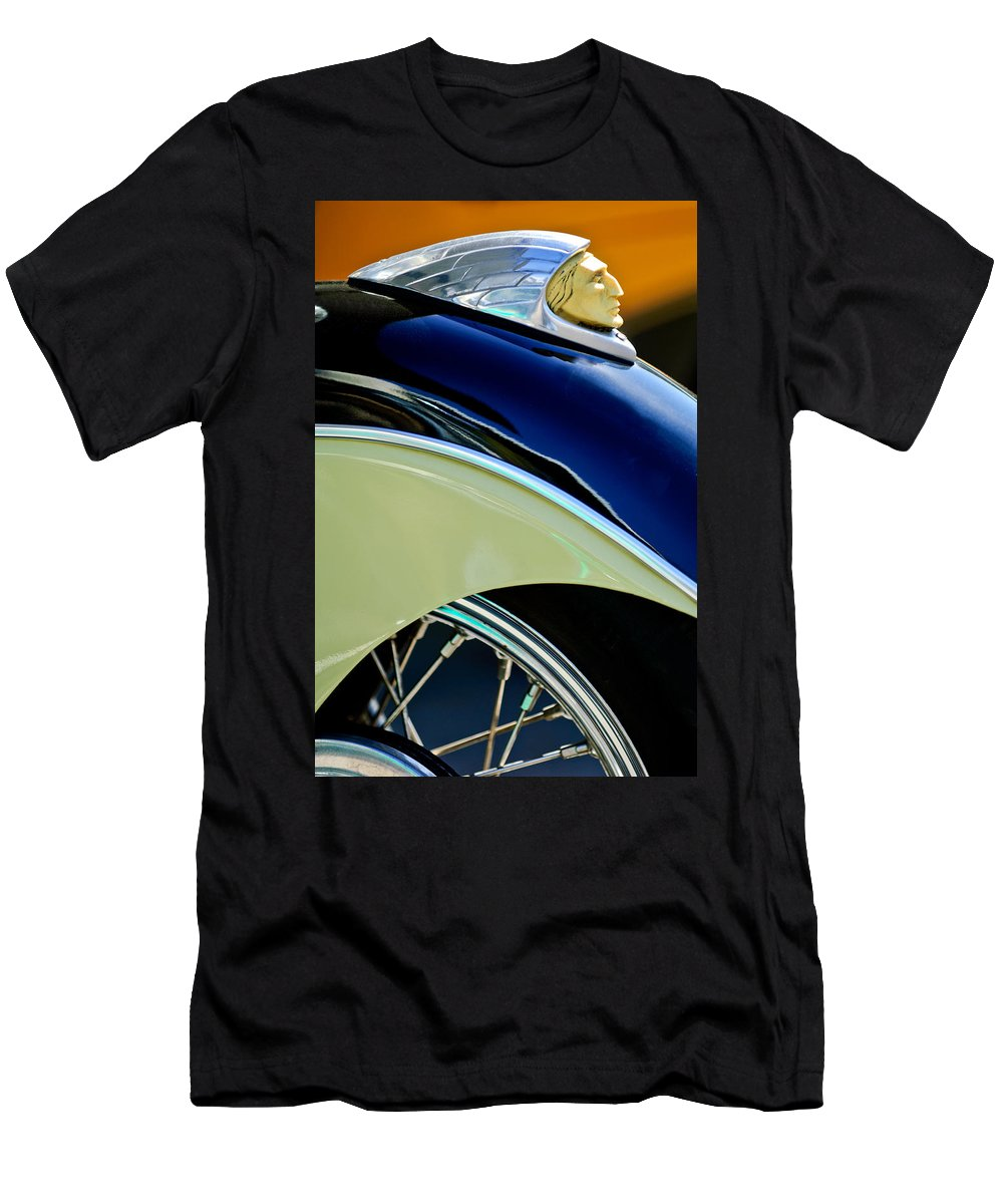 Indian Motorcycle Fender Emblem Men's T-Shirt (Athletic Fit) featuring the photograph Indian Motorcycle Fender Emblem by Jill Reger
