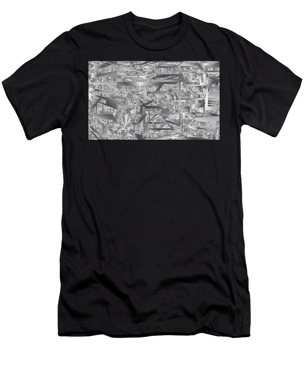 Digital Men's T-Shirt (Athletic Fit) featuring the mixed media Industrial Chaos by Karol Sloyan