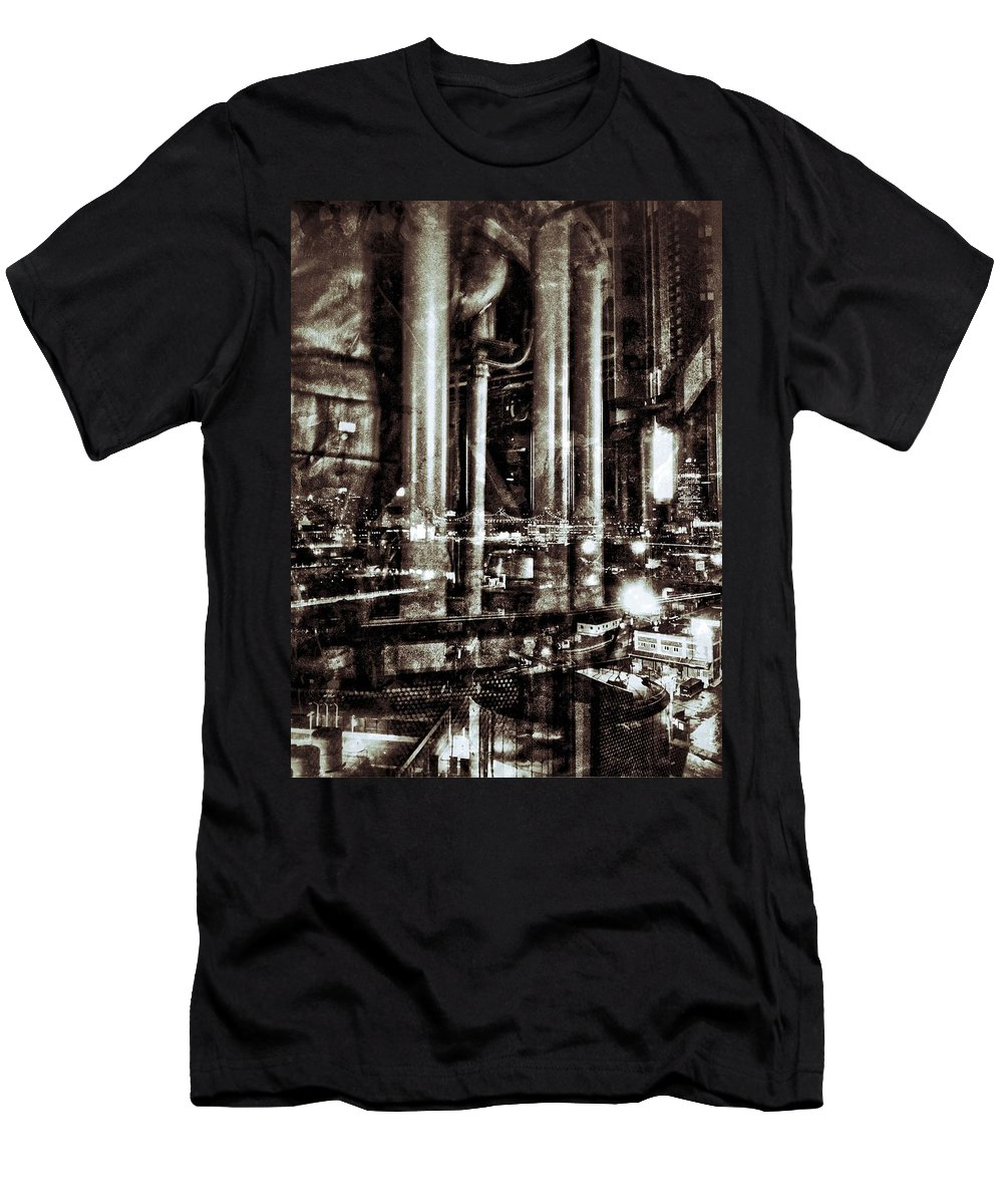 Double Exposure Men's T-Shirt (Athletic Fit) featuring the photograph Industry by H James Hoff