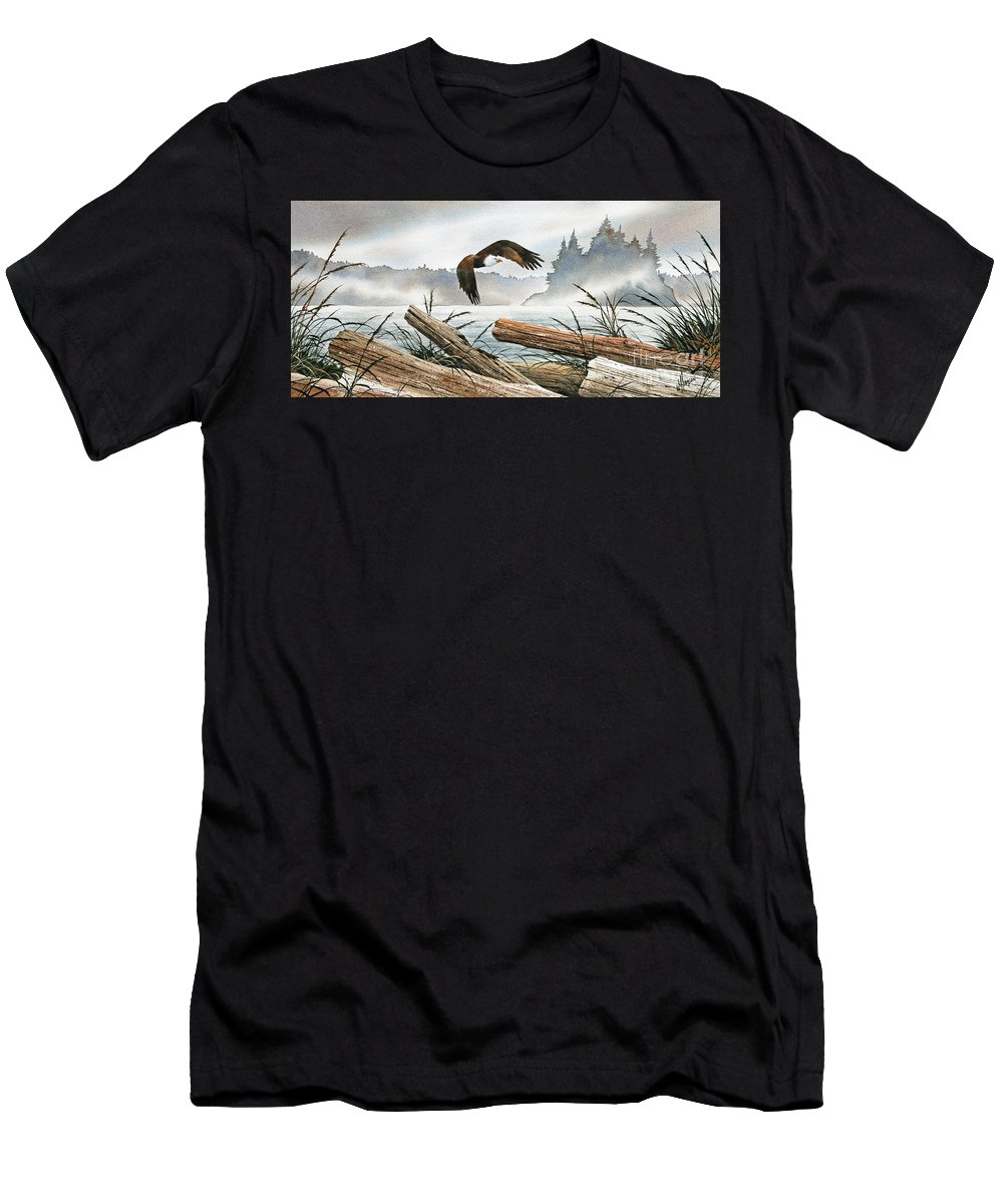 Eagle Fine Art Print Men's T-Shirt (Athletic Fit) featuring the painting Inland Sea Eagle by James Williamson
