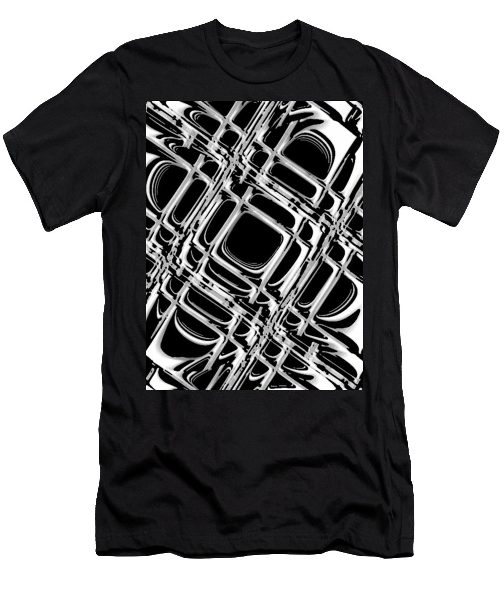 Black And White Men's T-Shirt (Athletic Fit) featuring the digital art Inner Workings by Pharris Art