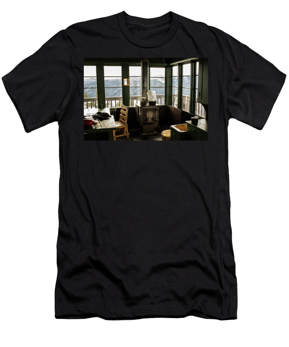 Day Men's T-Shirt (Athletic Fit) featuring the photograph Inside A Fire Lookout In Winter by Hannah Dewey