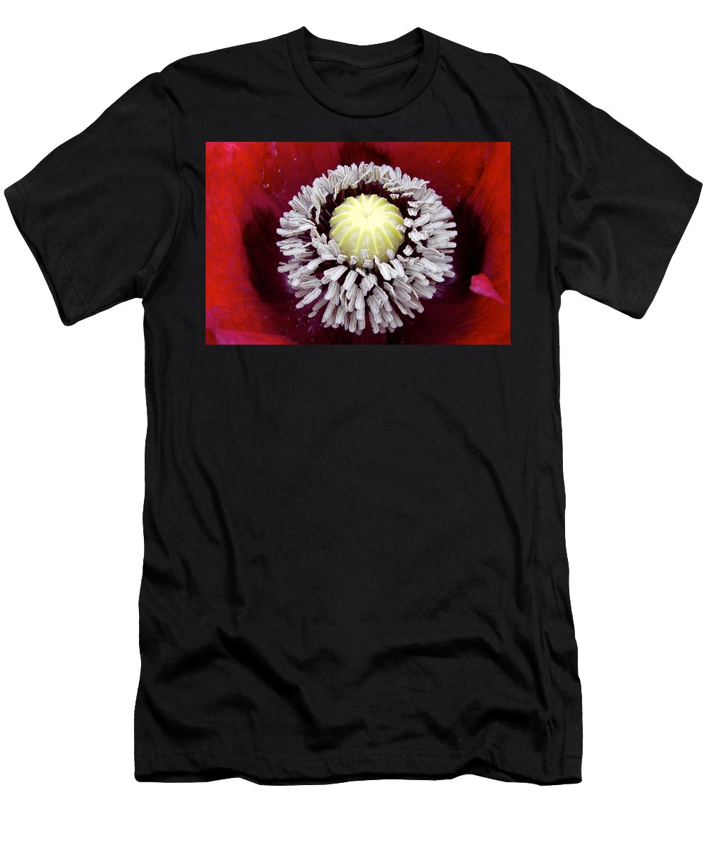 Flower Men's T-Shirt (Athletic Fit) featuring the photograph Inside Poppy by Noa Mohlabane