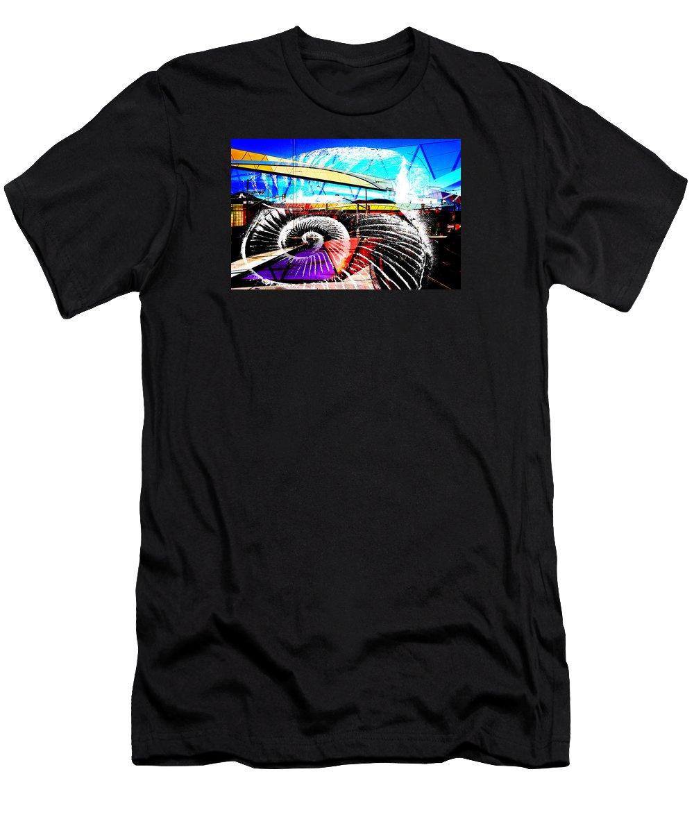 Interstate 10 Men's T-Shirt (Athletic Fit) featuring the digital art Interstate 10- Cushing St Overpass- Rectangle Remix by Arthur BRADford Klemmer