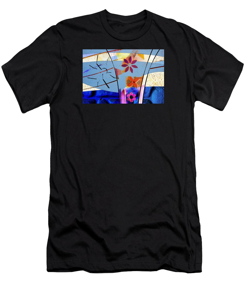 Interstate 10 Men's T-Shirt (Athletic Fit) featuring the digital art Interstate 10- Exit 256- Grant Rd Underpass- Rectangle Remix by Arthur BRADford Klemmer