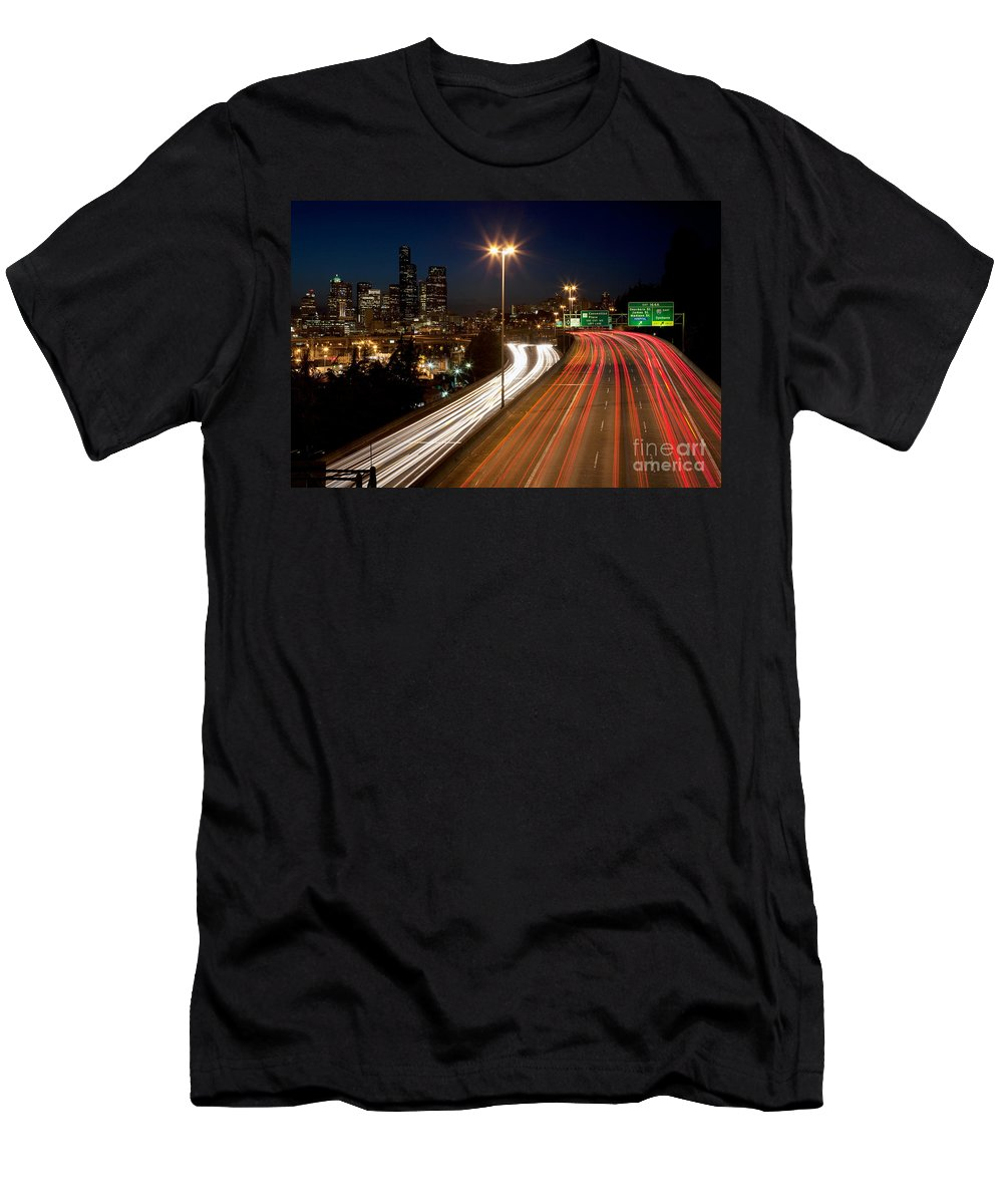 City Men's T-Shirt (Athletic Fit) featuring the photograph Interstate Traffic In Seattle Washington by Bill Cobb