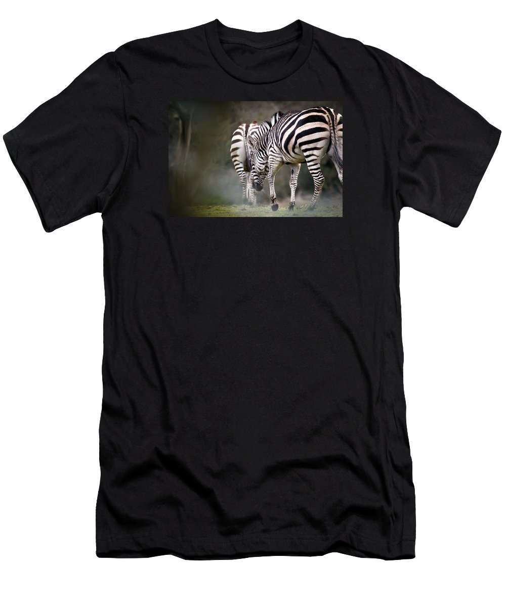 Zebra Men's T-Shirt (Athletic Fit) featuring the photograph Into The Fog by Athena Mckinzie