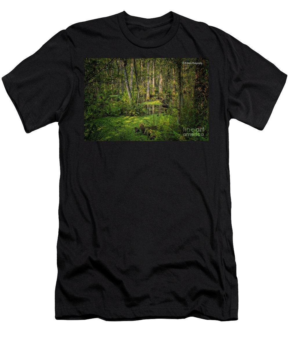 Swamp Men's T-Shirt (Athletic Fit) featuring the photograph Into The Swamp by Barbara Bowen