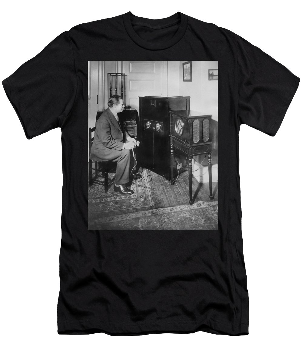 1 Person Men's T-Shirt (Athletic Fit) featuring the photograph Inventor Watching His 3 Tv by Underwood Archives