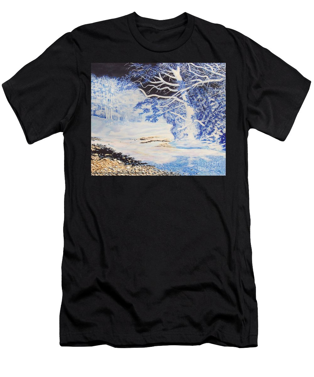 Inverted Lights Trawscoed Aberystwyth Men's T-Shirt (Athletic Fit) featuring the painting Inverted Lights At Trawscoed Aberystwyth Welsh Landscape Abstract Art by Edward McNaught-Davis