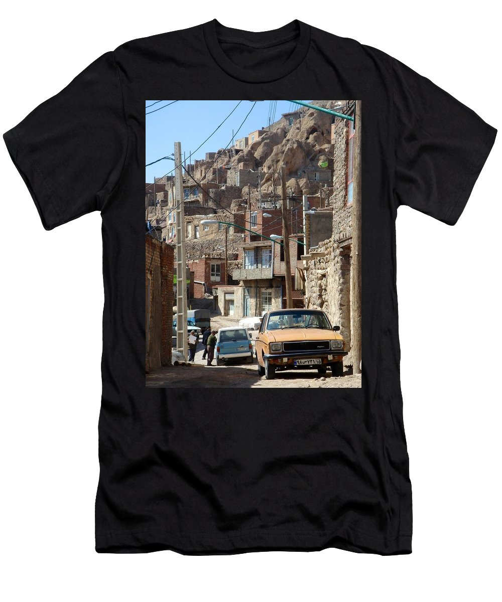 Kandovan Men's T-Shirt (Athletic Fit) featuring the photograph Iran Kandovan Cars And Wires by Lois Ivancin Tavaf