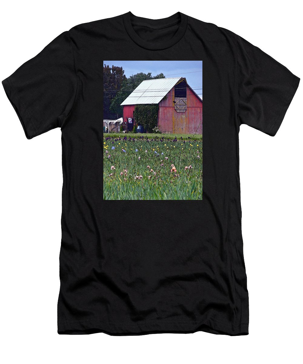 Irises Men's T-Shirt (Athletic Fit) featuring the digital art Iris Field And Barn by Gary Olsen-Hasek