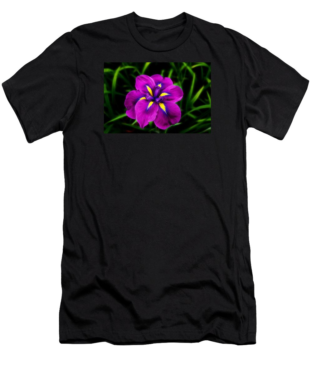 Flower Men's T-Shirt (Athletic Fit) featuring the photograph Iris Flower by FL collection