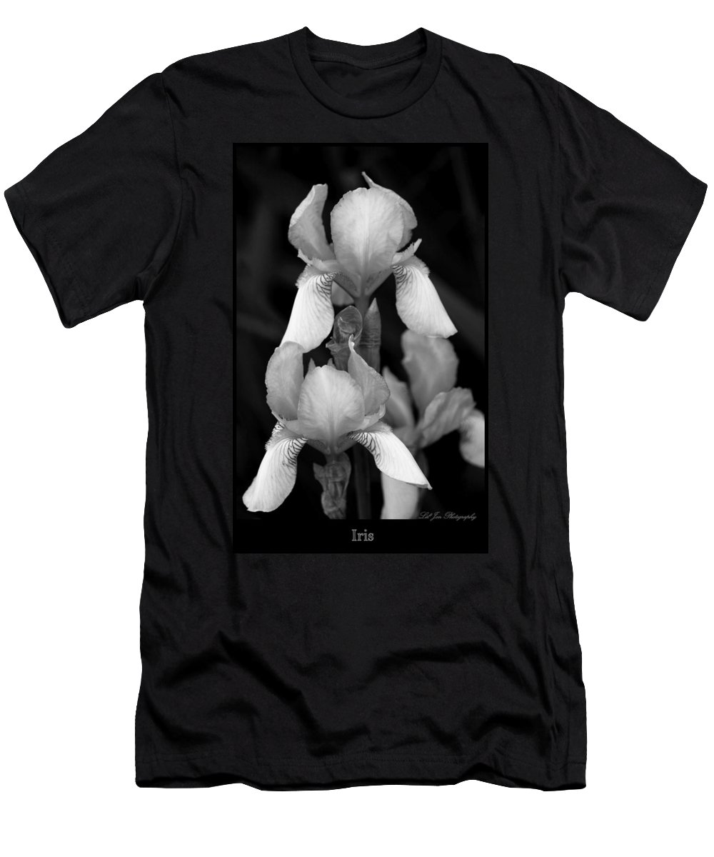 Iris Men's T-Shirt (Athletic Fit) featuring the photograph Irises In Black And White by Jeanette C Landstrom