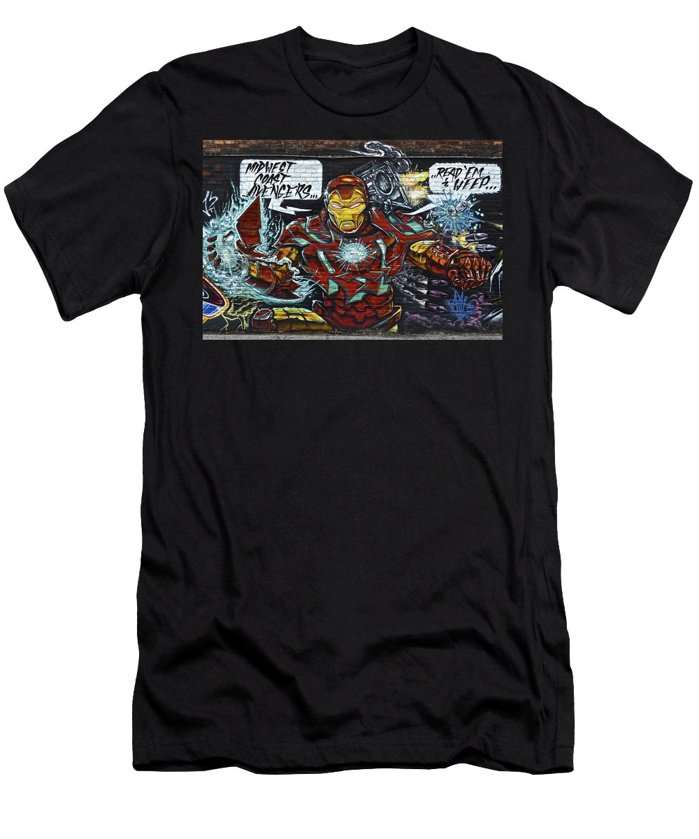 Iron Men's T-Shirt (Athletic Fit) featuring the photograph Iron Man Graffiti by Frozen in Time Fine Art Photography
