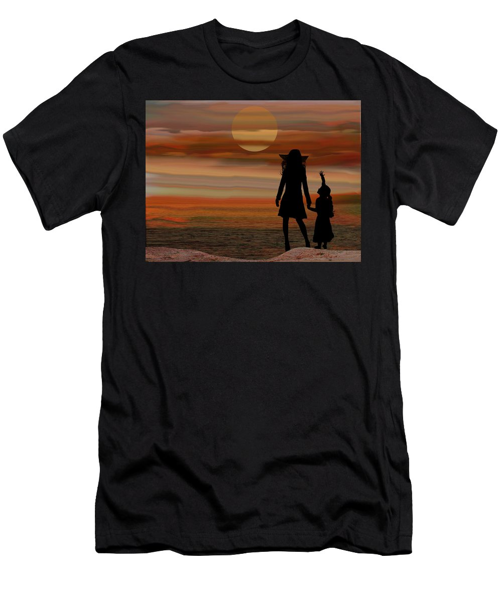 Sun Men's T-Shirt (Athletic Fit) featuring the digital art Is Daddy In Heaven Now - Featured In Contours And Silhouettes - Cards For All Occ -nature Wildlife by Ericamaxine Price