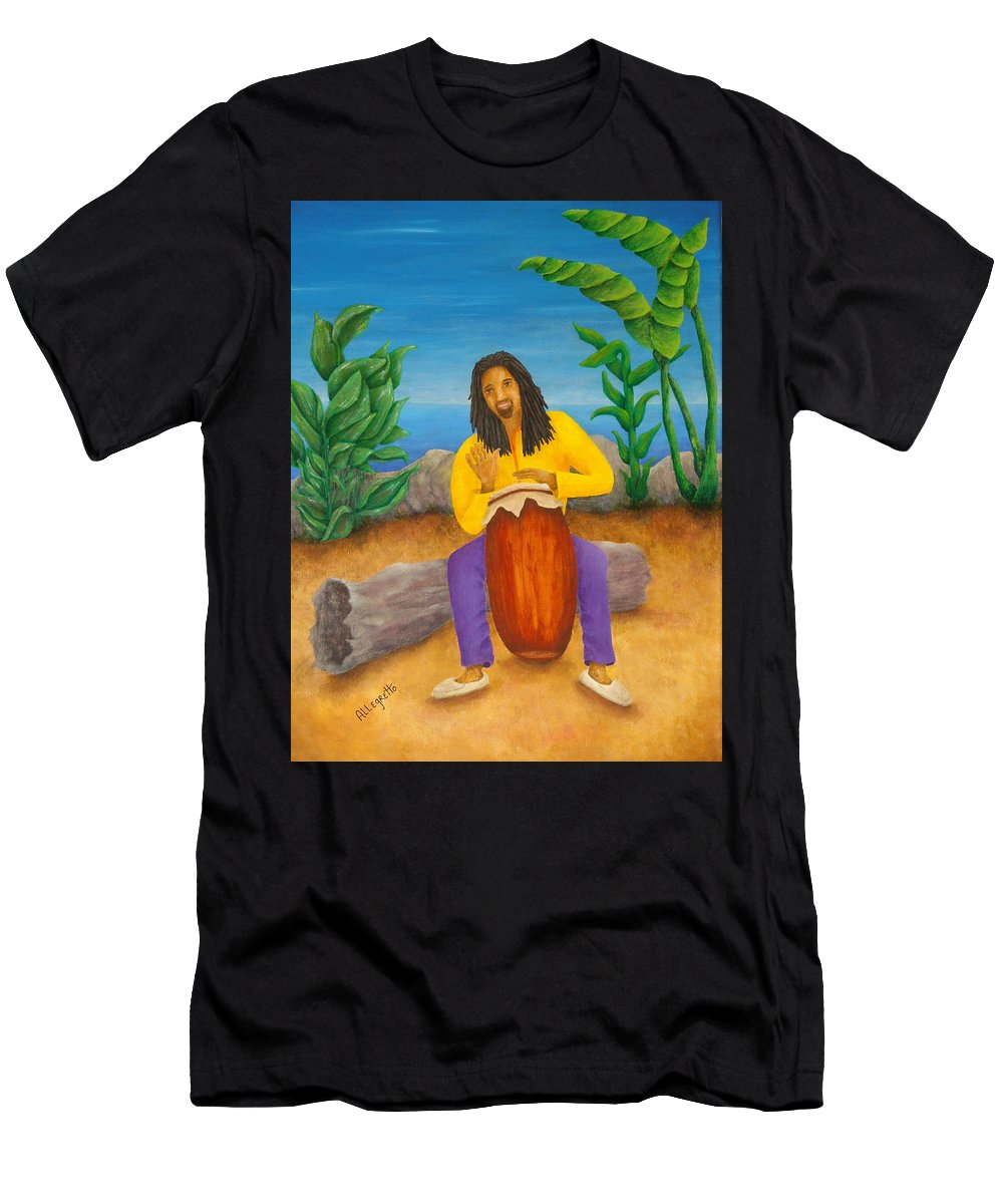 Pamela Allegretto Men's T-Shirt (Athletic Fit) featuring the painting Island Beat by Pamela Allegretto