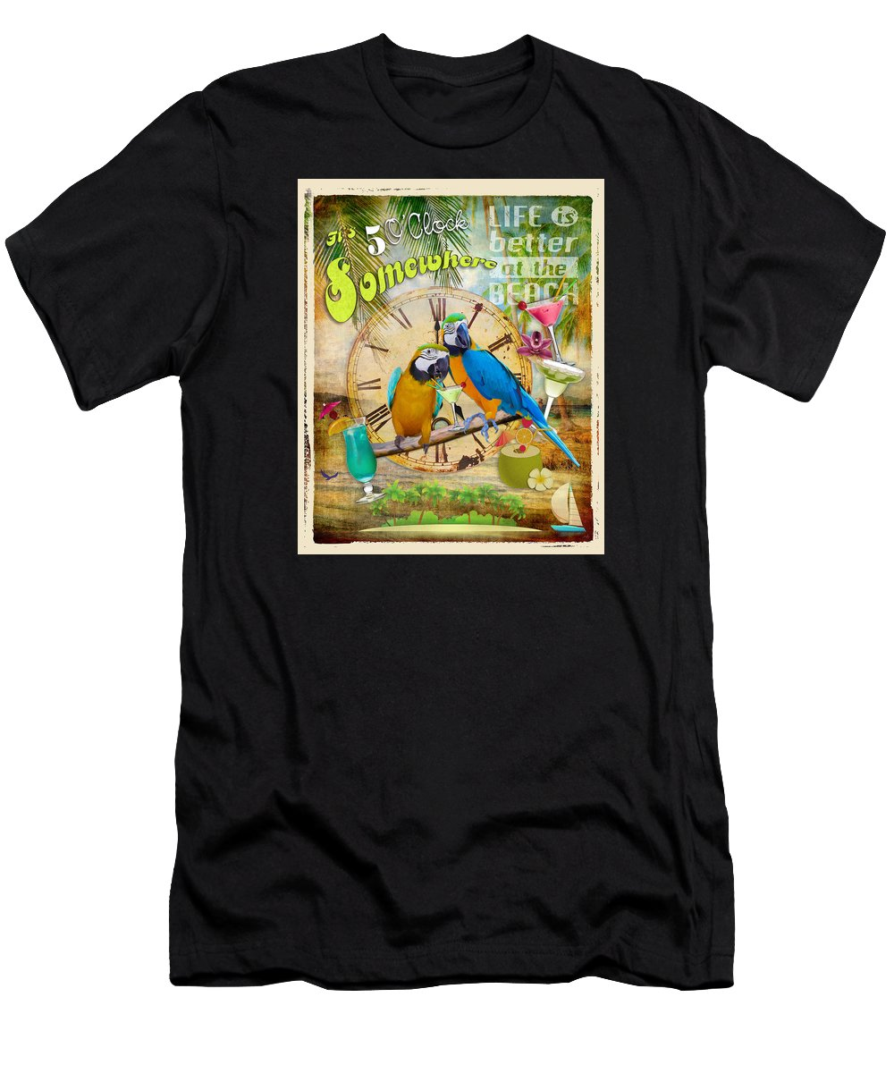 5 O'clock Men's T-Shirt (Athletic Fit) featuring the digital art It's 5 O'clock Somewhere by Anita Hubbard