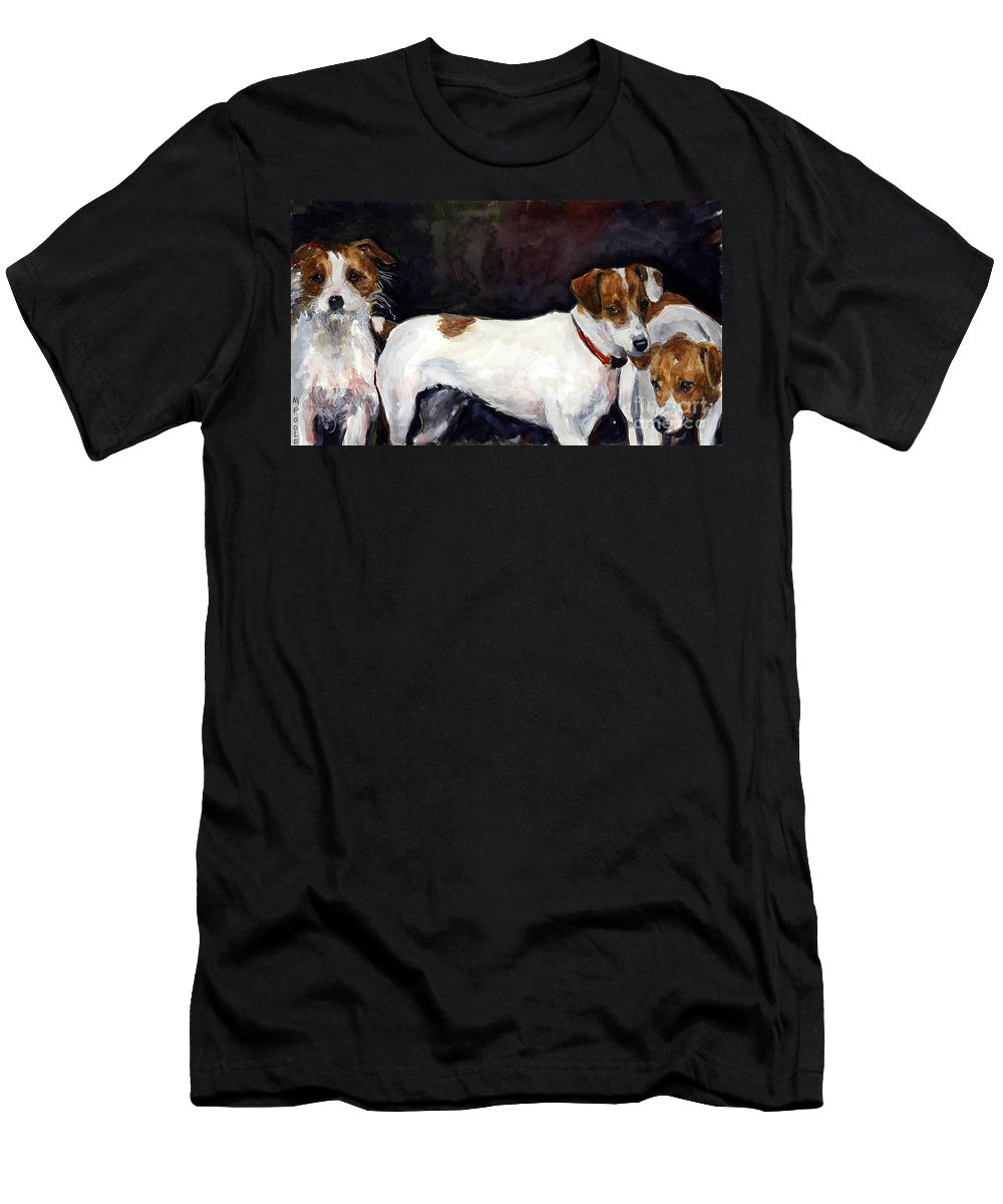 Jack Russell Terriers Men's T-Shirt (Athletic Fit) featuring the painting Jack Trio by Molly Poole