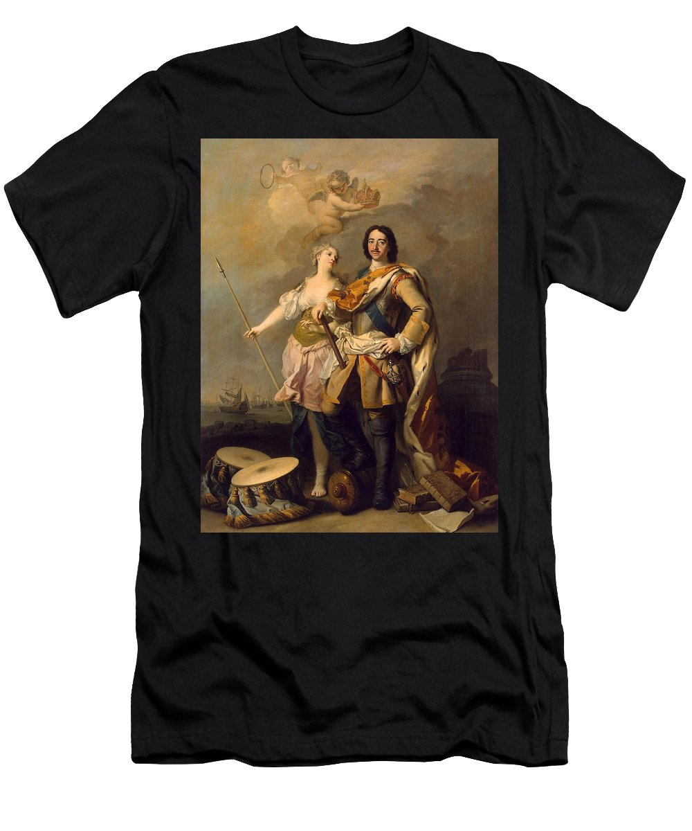 Jacopo Amigoni Men's T-Shirt (Athletic Fit) featuring the painting Peter I With Minerva With The Allegorical Figure Of Glory by Jacopo Amigoni