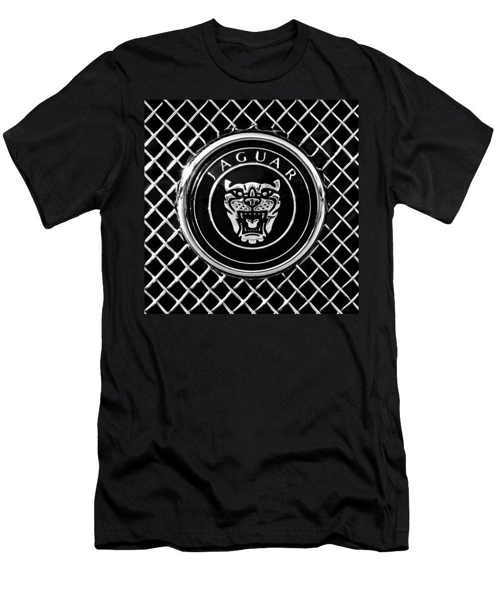 Jaguar Grille Emblem Men's T-Shirt (Athletic Fit) featuring the photograph Jaguar Grille Emblem -0317bw by Jill Reger