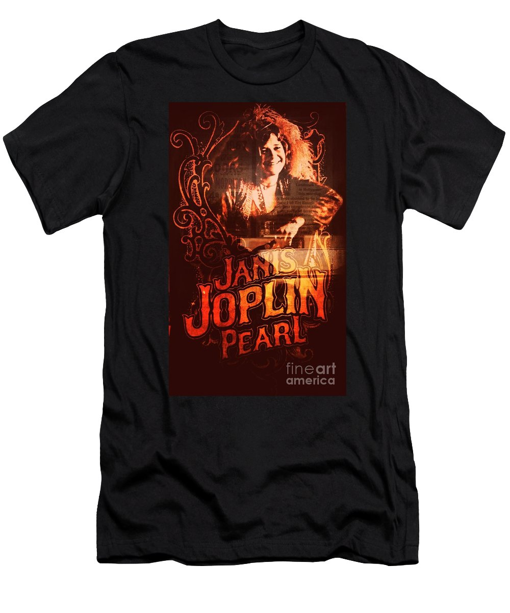 Men's T-Shirt (Athletic Fit) featuring the photograph Janis Joplin by Kelly Awad