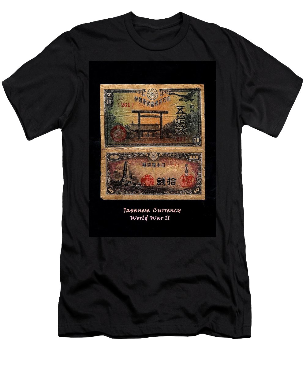 Fineartamerica.com Men's T-Shirt (Athletic Fit) featuring the photograph Japanese Currency From World War II by Diane Strain