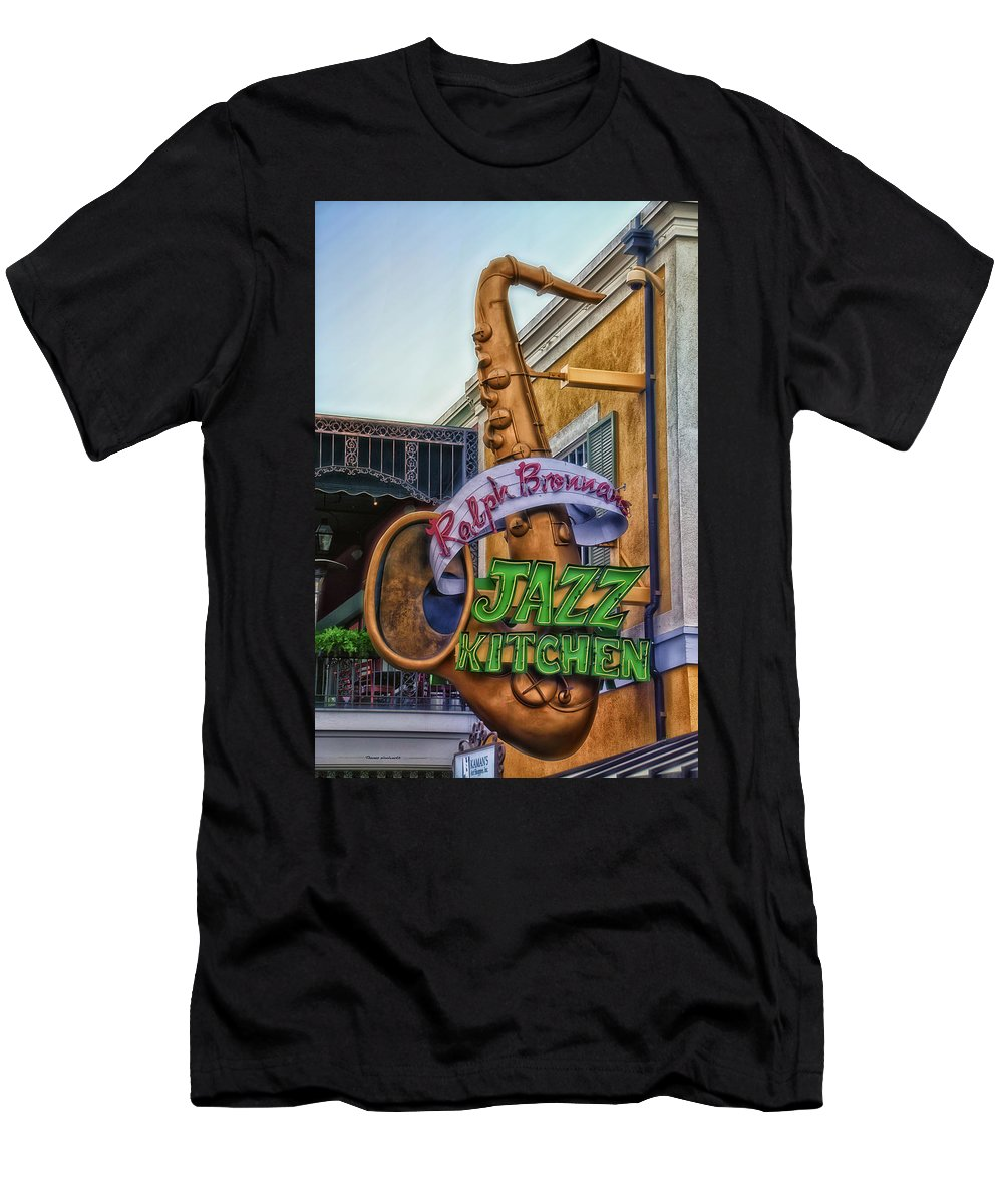 Disney Men's T-Shirt (Athletic Fit) featuring the photograph Jazz Kitchen Signage Downtown Disneyland by Thomas Woolworth