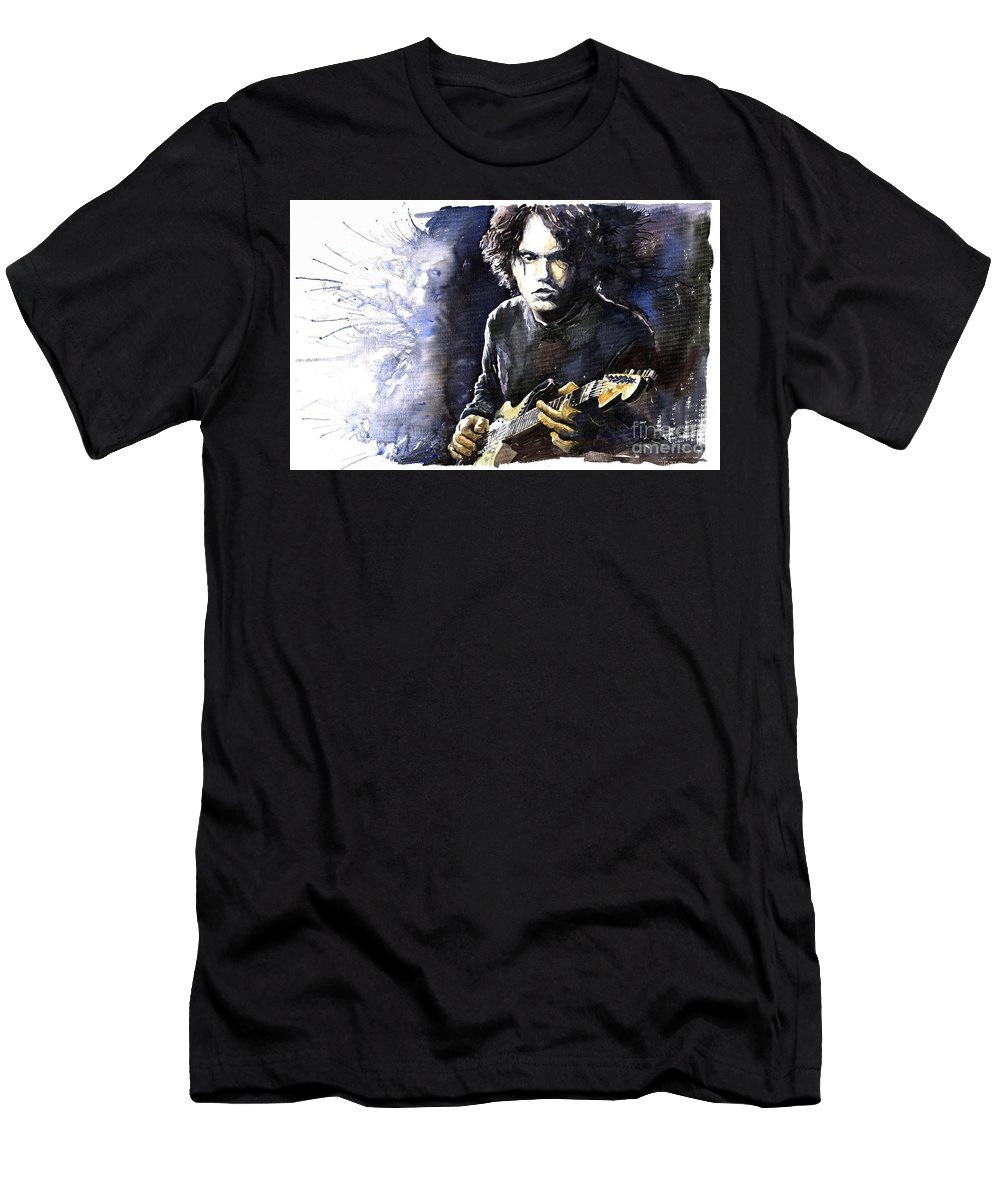 Jazz Men's T-Shirt (Athletic Fit) featuring the painting Jazz Rock John Mayer 03 by Yuriy Shevchuk