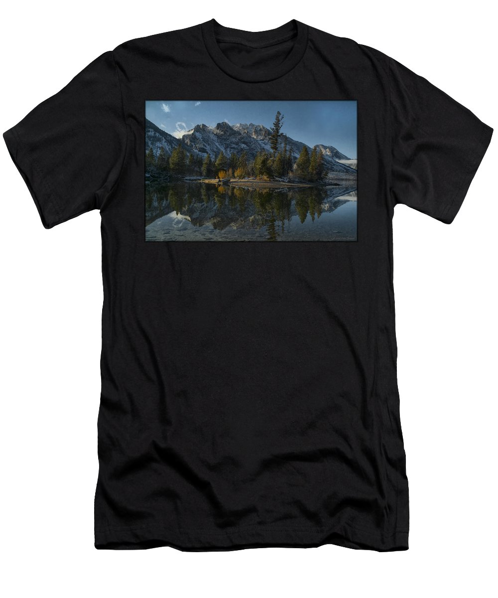 Lake Men's T-Shirt (Athletic Fit) featuring the photograph Jenny Lake Reflection by Erika Fawcett