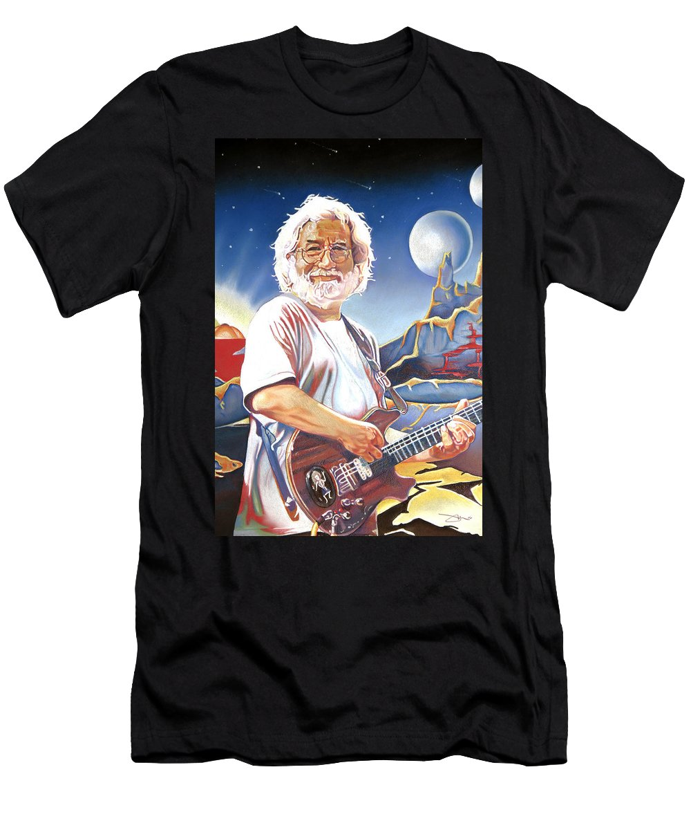 Jerry Garcia Men's T-Shirt (Athletic Fit) featuring the drawing Jerry Garcia Live At The Mars Hotel by Joshua Morton