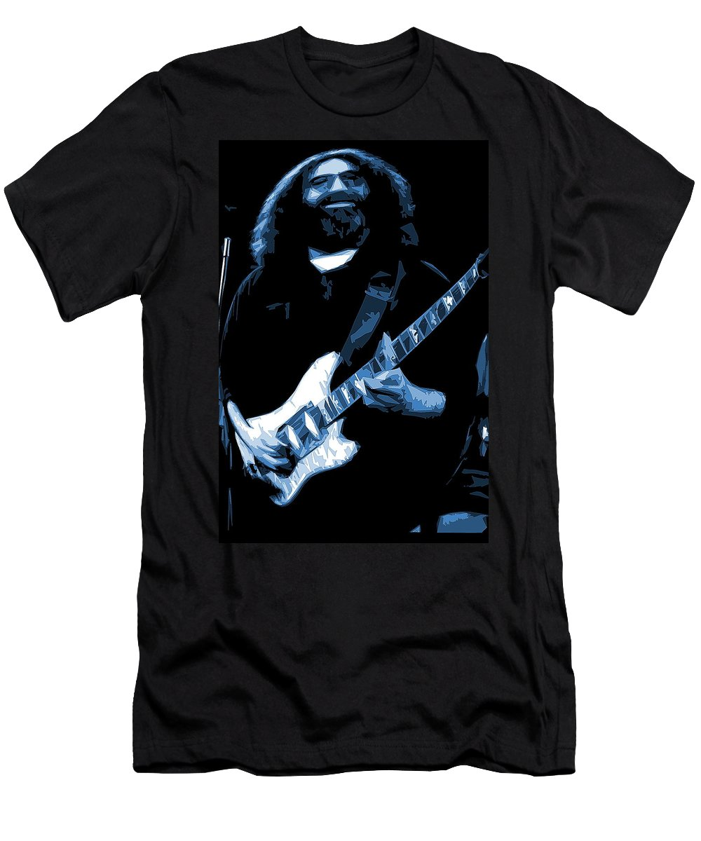 Jerry Garcia Men's T-Shirt (Athletic Fit) featuring the photograph Jerry Stretches The Blues by Ben Upham