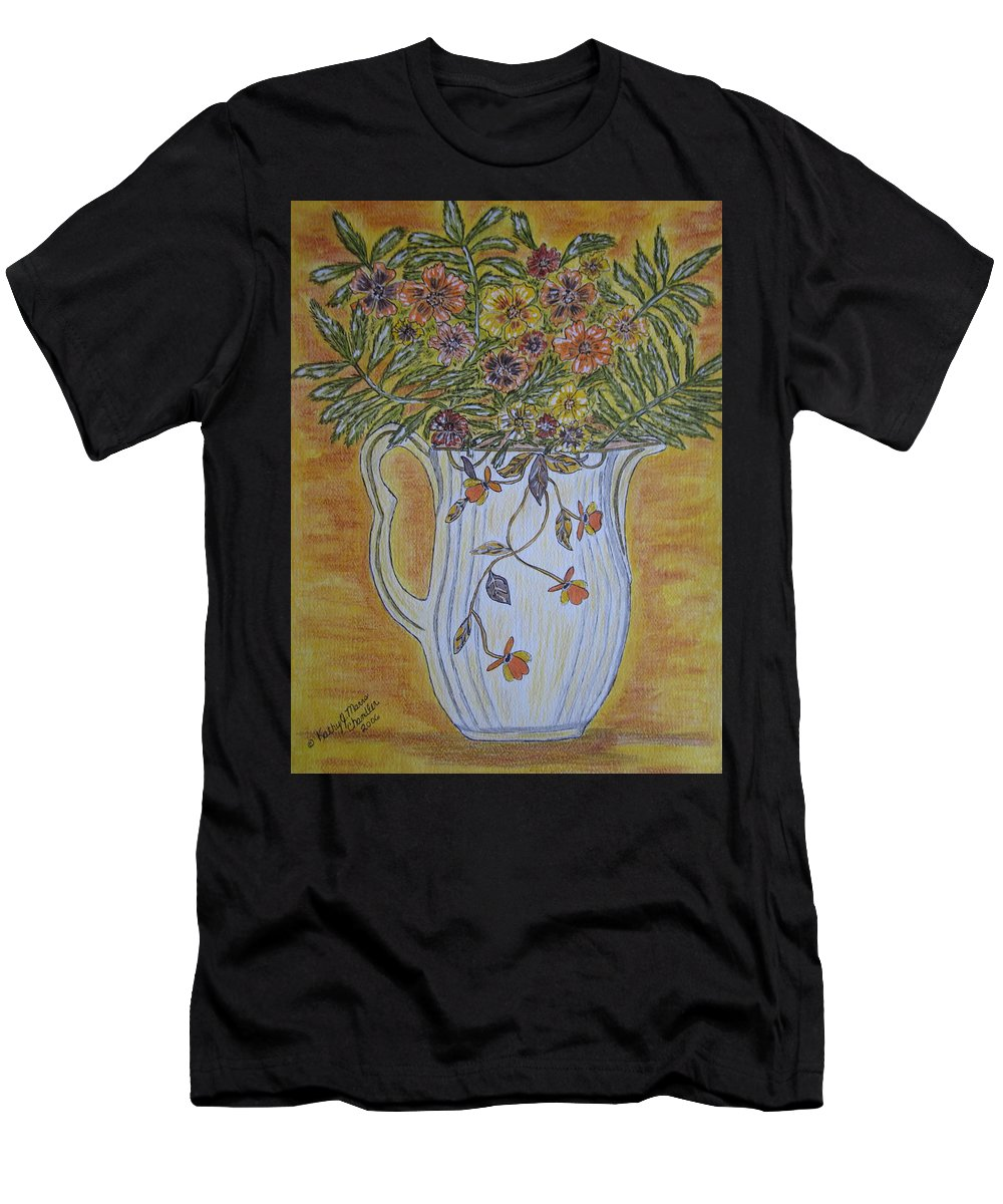 Jewel Tea Men's T-Shirt (Athletic Fit) featuring the painting Jewel Tea Pitcher With Marigolds by Kathy Marrs Chandler