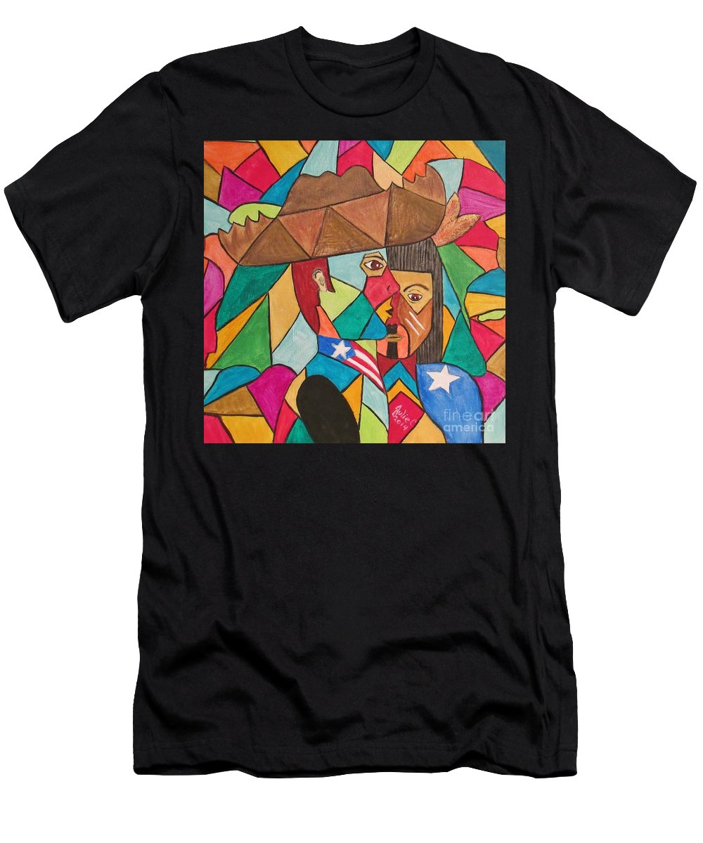 Abstract Men's T-Shirt (Athletic Fit) featuring the painting Jibaro Origin by Julie Crisan