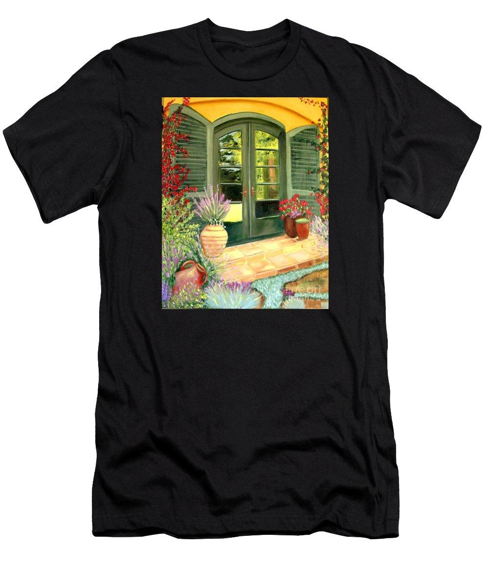 Shutters Men's T-Shirt (Athletic Fit) featuring the painting Jill's Patio by Laurie Morgan