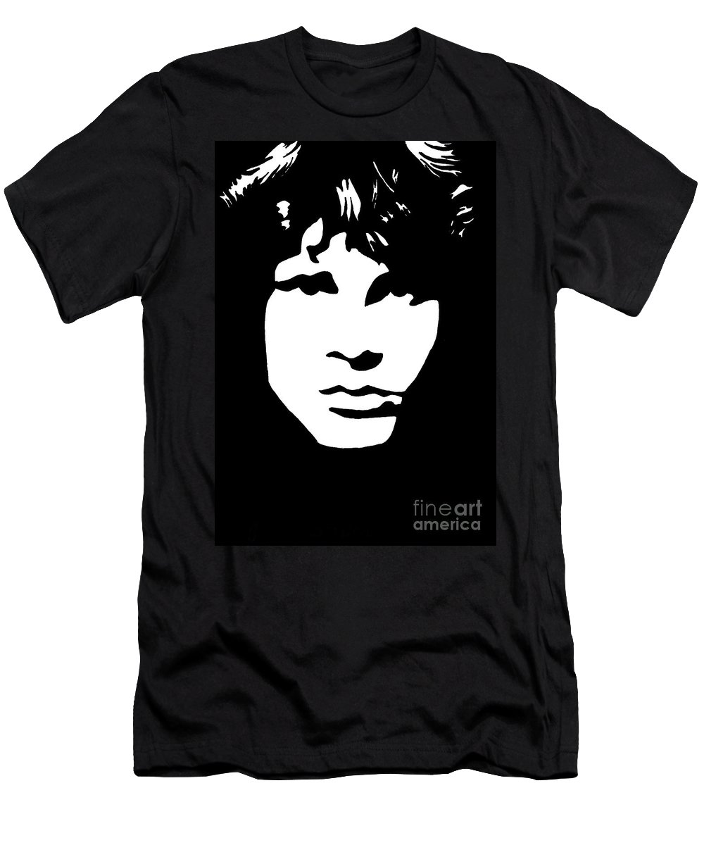 Black White Men's T-Shirt (Athletic Fit) featuring the drawing Jim Morrison by Yael Rosen