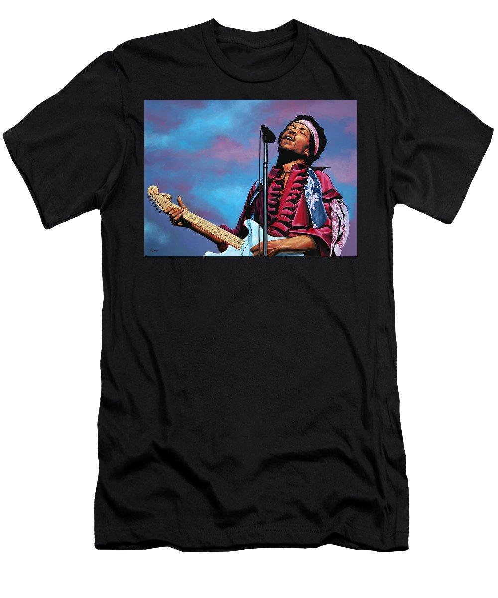 Jimi Hendrix T-Shirt featuring the painting Jimi Hendrix 2 by Paul Meijering