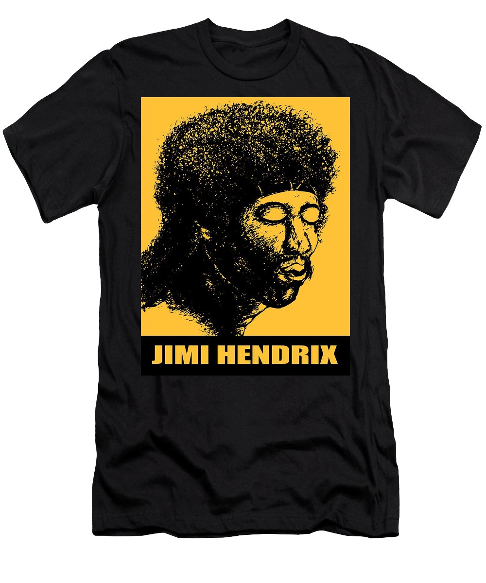 Jimi+hendrix Men's T-Shirt (Athletic Fit) featuring the drawing Jimi Hendrix Rock Music Poster by Peter Potter