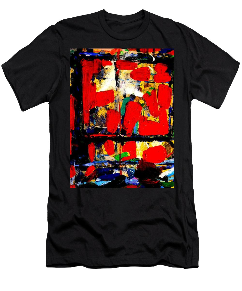 Abstract Men's T-Shirt (Athletic Fit) featuring the painting Joan Miro Quote  I Try To Apply Colors Like Words That Shape Poems Like Notes That Shape Music by John Nolan
