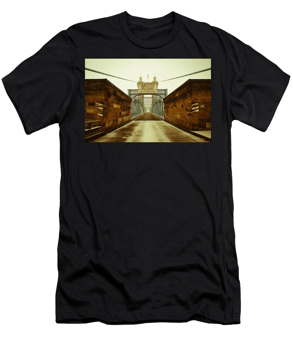 Cincinnati Men's T-Shirt (Athletic Fit) featuring the photograph John A. Roebling Bridge by Scott Meyer