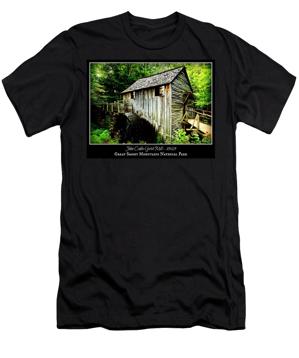 Cades Cove Men's T-Shirt (Athletic Fit) featuring the photograph John Cable Grist Mill - Poster by Stephen Stookey