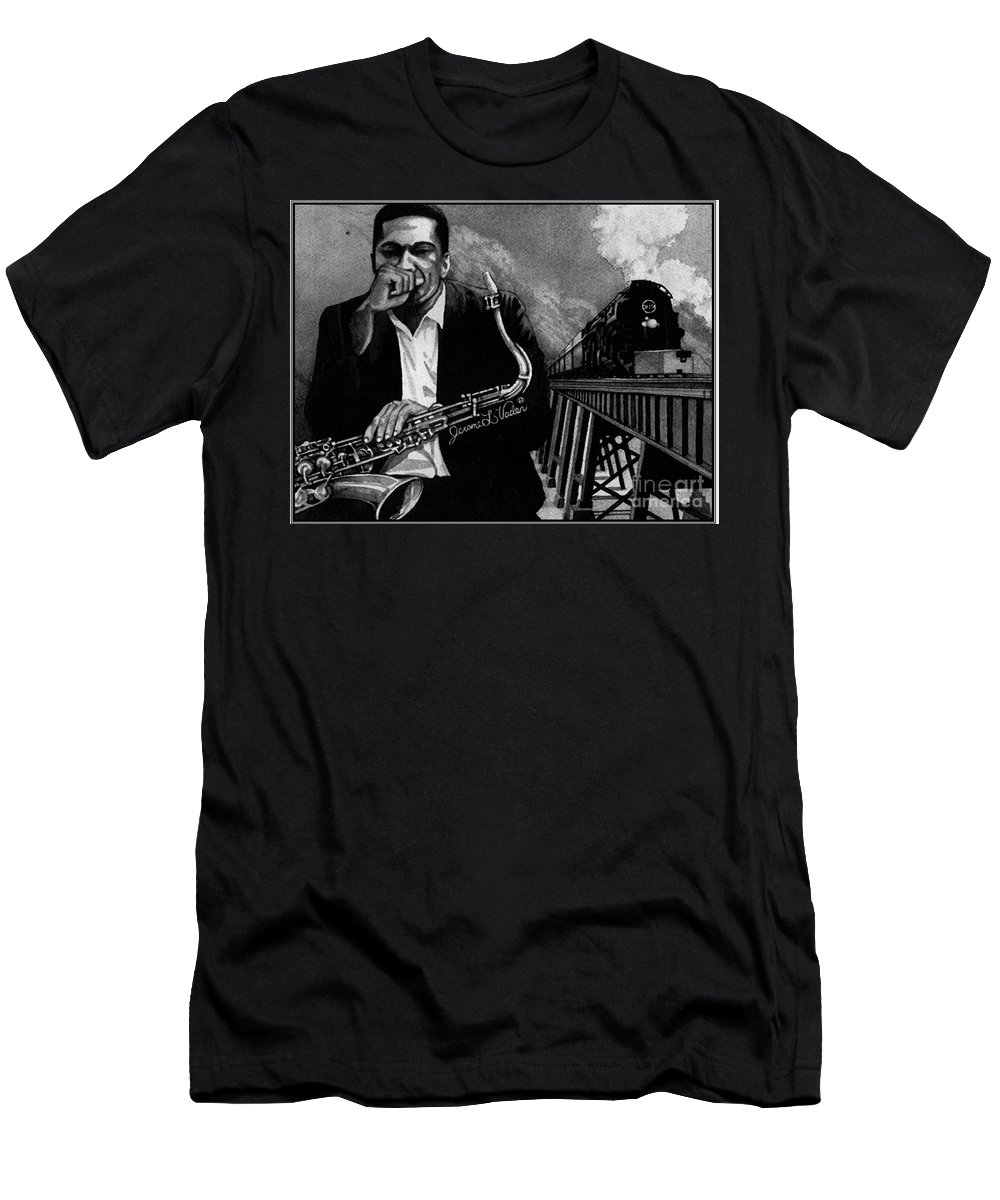 Jazz Men's T-Shirt (Athletic Fit) featuring the painting Jazz John Coltrane by JL Vaden